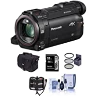 Panasonic HC-WXF991K 4K Ultra HD Camcorder with Wi-Fi - Bundle with Video Bag, 32GB U3 SDHC Card, 49mm Filter Kit, Memory Wallet, Cleaning Kit