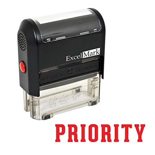 PRIORITY Self Inking Rubber Stamp - Red Ink (ExcelMark A1539)