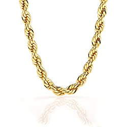 Gold Rope Chain 7MM, 24K Premium Fashion Jewelry Necklace, Resists Tarnishing, GUARANTEED FOR LIFE, 36 Inches