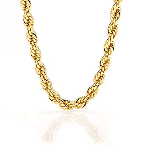 Lifetime Jewelry Rope Chain 7MM, 24K Diamond Cut Fashion Jewelry Necklaces in Yellow or White Gold Over Semi Precious Metals, Hip Hop or Classic, Comes with Box or Pouch, 18 - 18k Rope Necklace