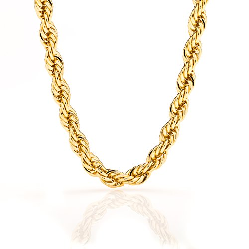 Lifetime Jewelry Rope Chain 7MM, 24K Diamond Cut Fashion Jewelry Necklaces in Yellow or White Gold Over Semi Precious Metals, Hip Hop or Classic, 16-36 Inches
