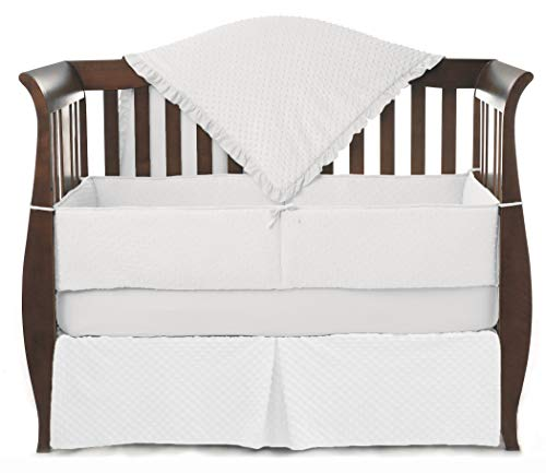 American Baby Company Heavenly Soft Minky Dot 4-Piece Crib Bedding Set, White, for Boys and Girls ()