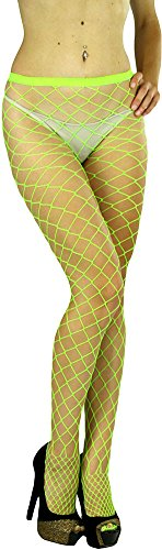 ToBeInStyle Women's Diamond Net Once Size Full Footed Pantyhose - Neon Green -