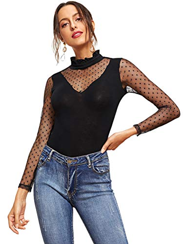 WDIRARA Women's Long Sleeve Stand Collar Sheer Polka Dot Lace Mesh T-Shirt Tops Black - Dot Polka Lace Sheer