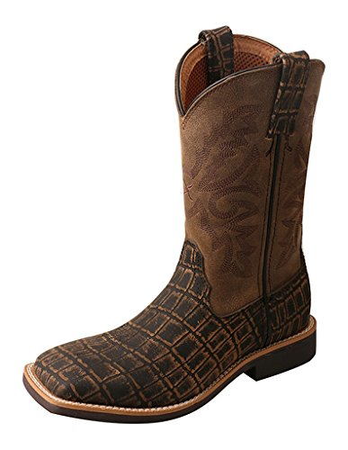 Twisted X Boys' Caiman Print Cowboy Boot Square Toe Brown 3 D by Twisted X