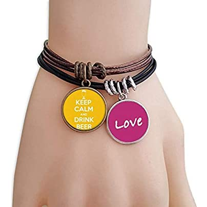 Metftus Quote Keep Calm And Drink Beer Yellow Love Bracelet Leather Rope Wristband Couple Set Estimated Price -