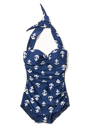 Esther Williams 1950s One Piece Halter Swimsuit Nautical Navy Anchors Size 12