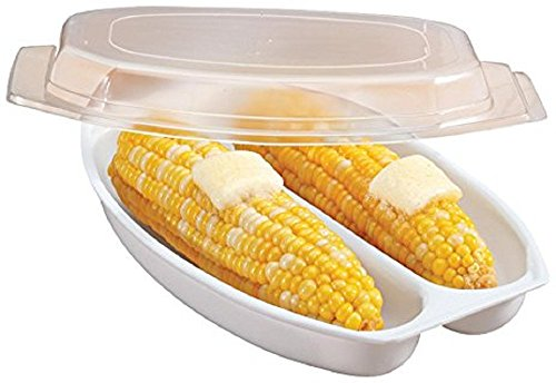 Microwave Corn Cooker/Corn Steamer - White - Easy & Fast Way To Steam Corn In The Microwave - 2 Pieces At A Time.