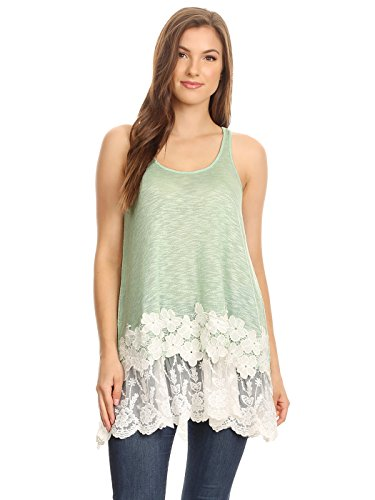 Anna-Kaci Womens Casual and Comfortable Loose Fit Tunic Tank Top with Lace Trim, Green, ()