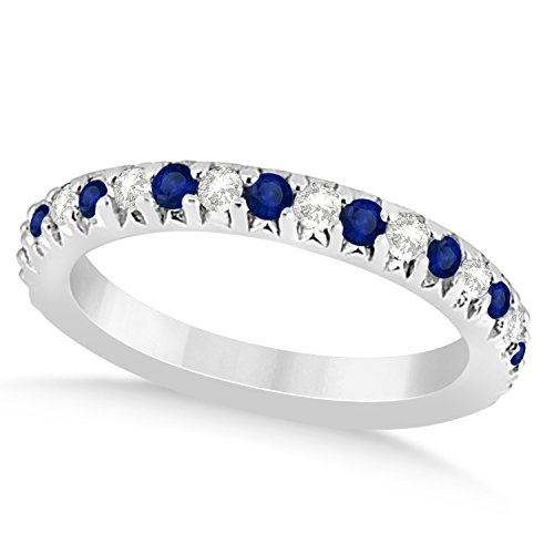 (0.60ct) Palladium Blue Sapphire and Diamond Accented Prong Set Wedding Band
