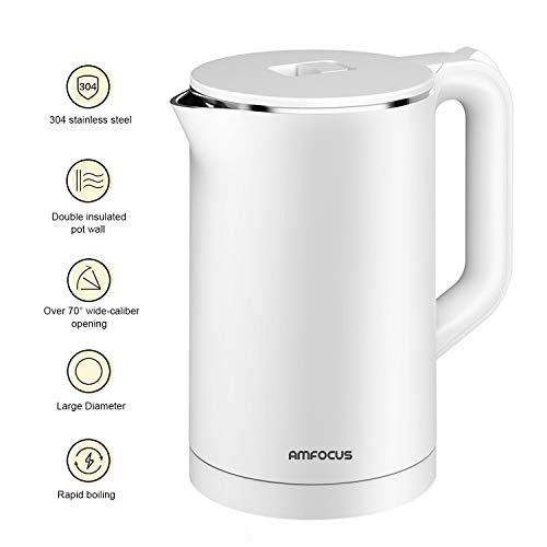 Electric Water Kettle, 1.7L Anti-scald Double Wall Electric Kettle, 100% Stainless Steel Inner AMFOCUS Hot Water Boiler, BPA-Free 1500W Fast Boiling Tea Kettle with Auto Shut-Off