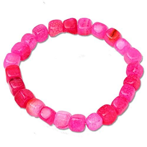 (BaiYunPOY Beads Bracelet - Natural Stone Elastic Yoga Beaded Bracelet Charms Bangle for Men Women (Glaze Pink))