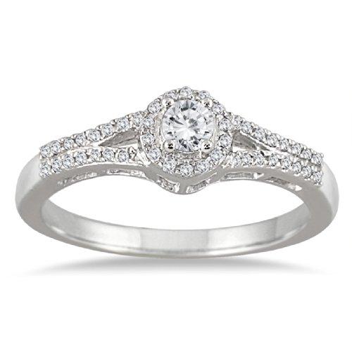 1/3 Carat Diamond Halo Bridal Set in 10K White Gold