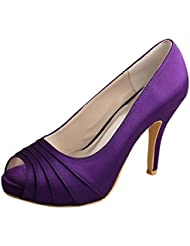 Wedopus MW1491 Womens Peep Toe Pleated High Heel Purple Wedding Bridesmaid Shoes