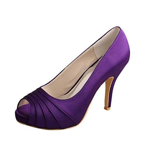 Wedopus MW1491 Womens Peep Toe Pleated High Heel Purple Wedding Bridesmaid Shoes Size 8