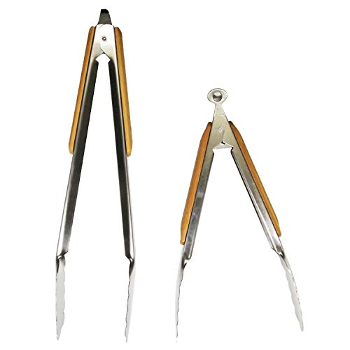 HOSIMAY Barbecue Grill Tongs Set of 2, Heavy Duty Grilling Tongs for Cooking Serving Food, 12'' & 9'' BBQ Tongs, Locking Stainless Steel Kitchen Tongs with Bamboo Heat Resistant Handle