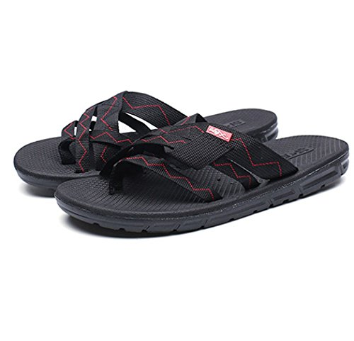 U-MAC Mens Thongs Flip Flops Arch Support Sports Speed Beach Sandals Light-Weight II Classical Slippers Black ocYYgwlWWI