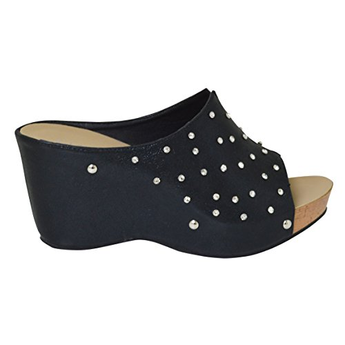 Ciara Ladies Comfort Insole Silver Diamante Slip On Wedge Sandal (Donna) Black eHcNk