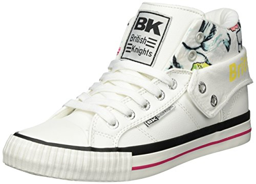 British Knights WoMen Roco High-Tops, Ice Silver White (White/Pink/Flower 01)