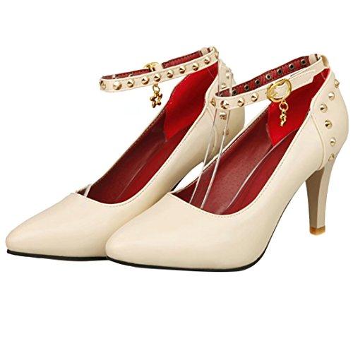 AIYOUMEI Damen Stilettos High Heels Knöchelriemchen Pumps mit Nieten Abendschuhe Aprikose