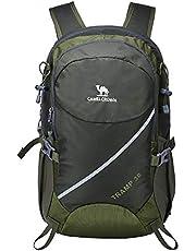 CAMEL CROWN 30L Leichter Wandern Rucksack Wasserdicht Outdoor Casual Camping Trekkingrucksack mit Regenschutz, Sports Daypack für Klettern Reiten Reisen