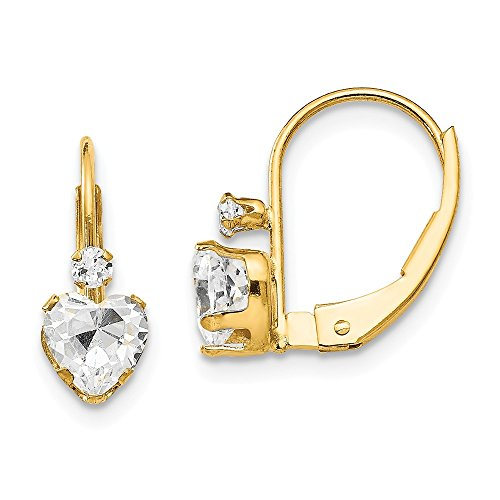 Solid 14k Yellow Gold CZ Cubic Zirconia Heart Leverback Earrings (5mm x ()