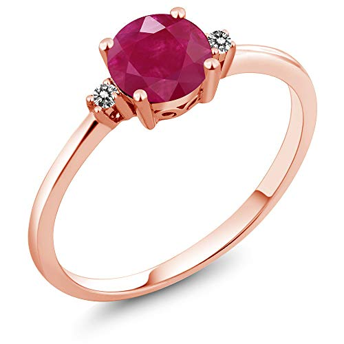 (Gem Stone King 10K Rose Gold Engagement Solitaire Ring set with 1.03 Ct Round Red Ruby and White Diamonds (Size 7))