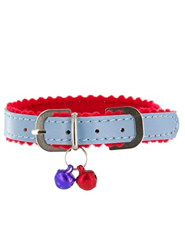 "Wilshire Dog or Cat Collar with Bell by Kakadu Pet, X-Small, 3/8"" x 12"", Blue"