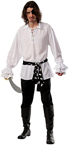 Guy Pirate Costume (Rubie's Men's Cotton White Pirate Shirt, White,)