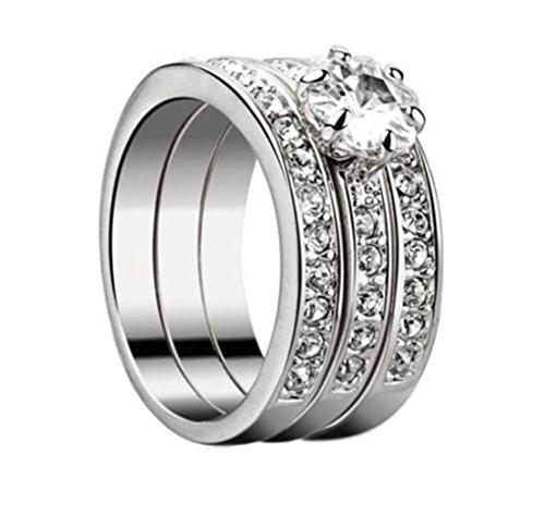 SUNSCSC 18K White Gold GP Crystal Flower AAA CZ Zircon Band Rings Set of 3 PCS (6.5) (Wedding Band Set White Gold)