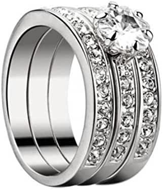 SUNSCSC 18K White Gold GP Crystal Flower AAA CZ Zircon Band Rings Set of 3 PCS