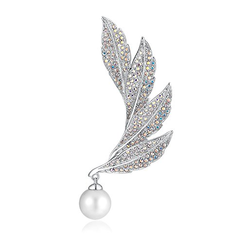 PLATO H Cultured Pearl & Leaf Brooch with Swarovski Crystal for Her Women Fashion Jewelry
