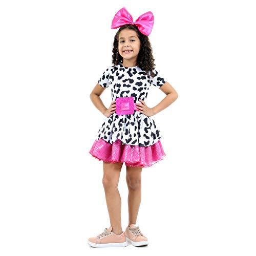 Fantasia Diva Infantil 933650-PP, Preto/Branco/Rosa, Sulamericana Fantasias