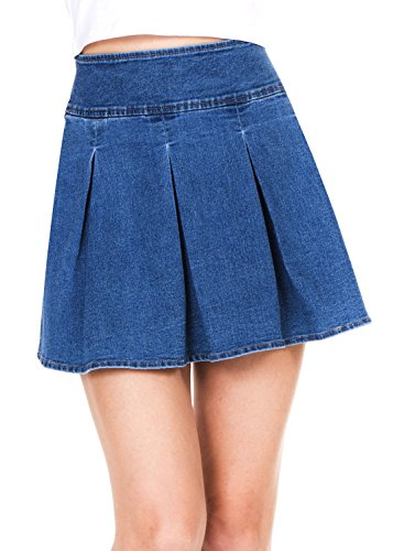 Megan apparel Women's Stretchy Flared Casual Mini Skater Denim Skirt, Blue, Large