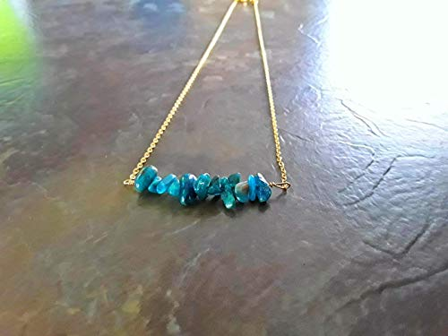 Neon Apatite Wire Wrapped Classic Bar Pendant Necklace 18k Gold Plt Multiple Size ()