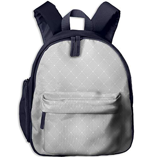 Haixia Kids Boy's&Girl's Bookbags with Pocket Geometric Symmetrical Squares with Linked Simplistic Soft Tones Classic Lines Pattern Decorative Pale Grey White by Haixia