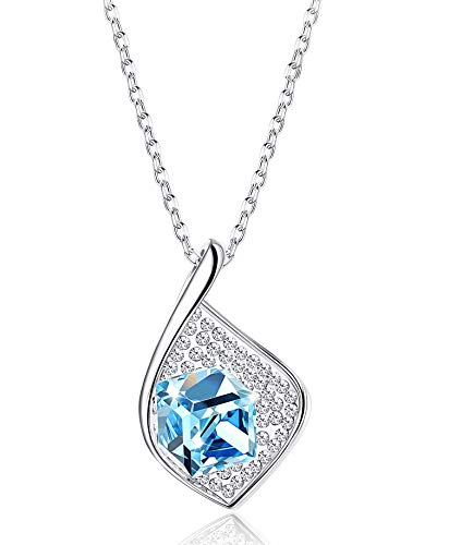 (KesaPlan Square Crystal Pendant Necklace for Women Leaf Shaped Jewelry, Made with Swarovski Crystals with Platinum Plated Chain, Gift for Mother's Day)