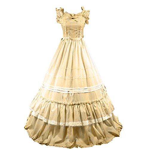 Cheap Victorian Dress (Partiss Women Bowknot Ruffles Square Collar Gothic Victorian Lolita Dress, XXL, Champagne)