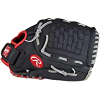 RAWLINGS Guantes de béisbol PL120SB de 12 pulgadas, para zurdos, Infield Outfield, negro, rojo, gris