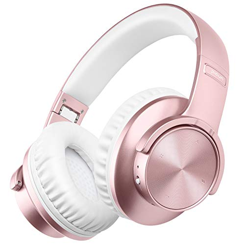 Picun B8 Wireless Headphones 40H Playtime, Bluetooth 5.0 Hi-Fi Stereo Bluetooth Headphones Women, Touch Control, Comfortable Foldable Over Ear Headphones w/Mic, Wired/TF Slot for PC/Phone(Rose Gold)