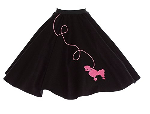 Hip Hop 50s Shop Adult Poodle Skirt Black with Pink XL/2X -