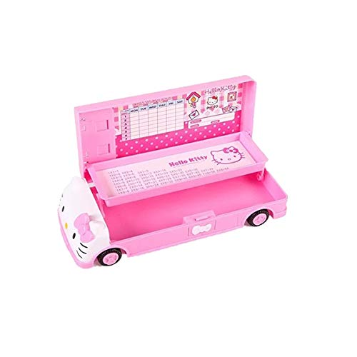 (Hello Kitty Car Pencil Case with White Board+Pen with Eraser for Girl Two-Layer Student)