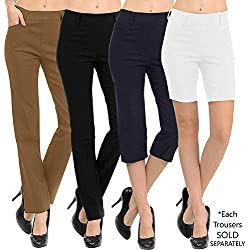 "VIV Collection New Straight Fit Long Trouser Pants (Medium - 32"" Inseam, Black)"