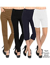 New Women's Straight Fit Trouser Pull-On Pants | 4 Styles Long/Short/Capri/Ankle