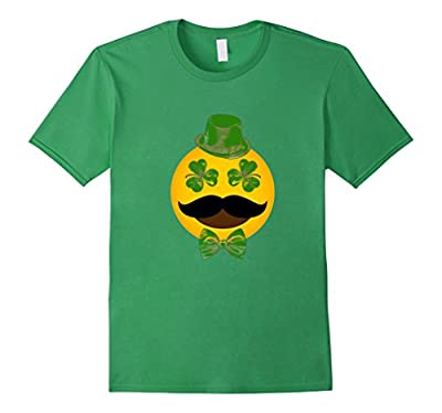 St Patricks Day Emoji T-Shirt Funny Mustache Men Girls Boys