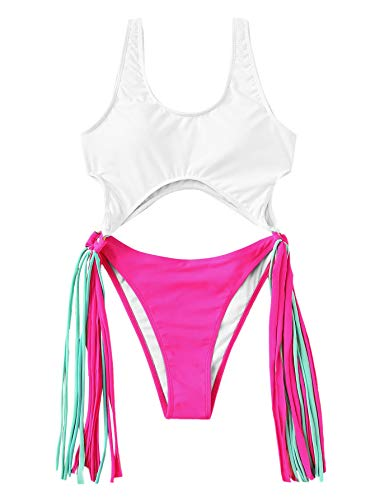 SOLY HUX Women's Two Tone Cut-Out Ring Linked Fringe Monokini One Piece Swimsuits Sexy Bathing Suits Multicolor#1 S