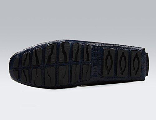 Zapatos Clásicos de Piel para Hombre Zapatos de cuero de los hombres Zapatos casuales Zapatos de conducción de estilo británico Tumbona transpirable ( Color : Vino rojo , Tamaño : EU39/UK6 ) Azul