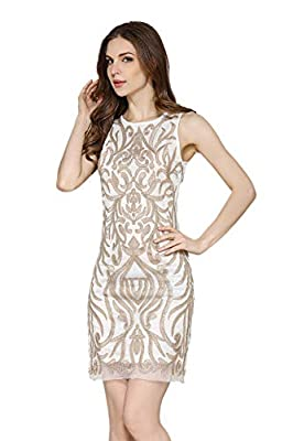 Women's Mesh Sequin Embroidery Slim 1920s Gatsby Cocktail Sequin Art Deco Flapper Evening Party Club Dress