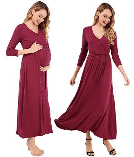 FISOUL Womens Maternity Dress Pregnant Nursing Nightgown Breastfeeding Sleepwear S-XXL(Wine Red,Large)