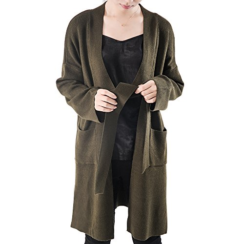 OYEAHGIRL Long Cardigan Sweaters For Women With Pockets Long Sleeve Tie Open Front Outerwear Coat (Army Green) (Coat Sweater Long)